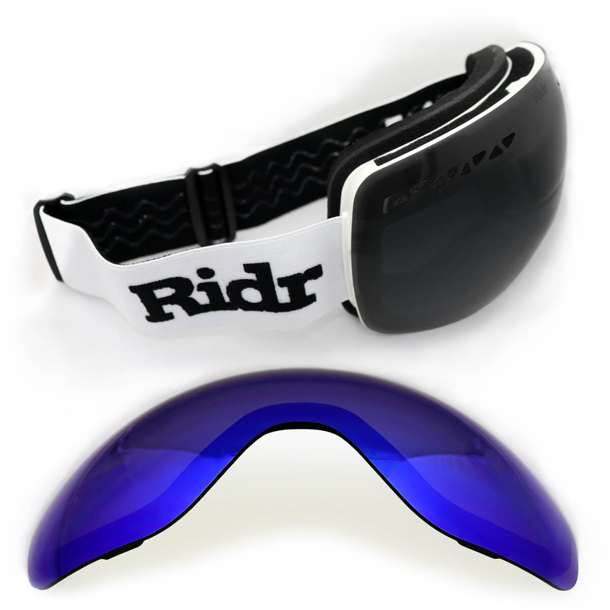 White Ridr Edge Goggles with two interchangeable lenses