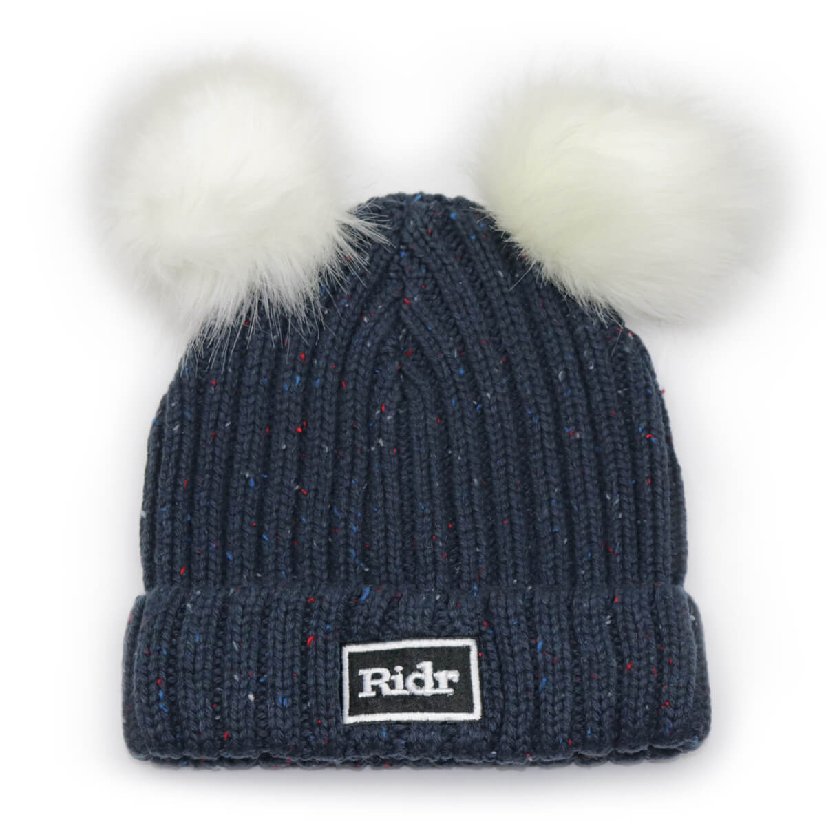 Navy Double Faux Fur Pom Pom Beanie
