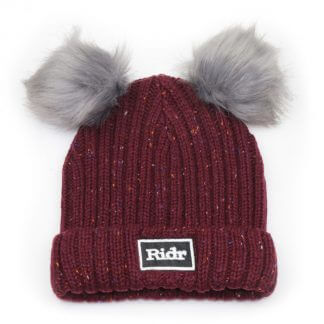 Burgundy Double Faux Fur Pom Pom Beanie